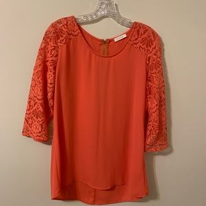 Zip Up Blouse with Lace Sleeves by Paper Kite